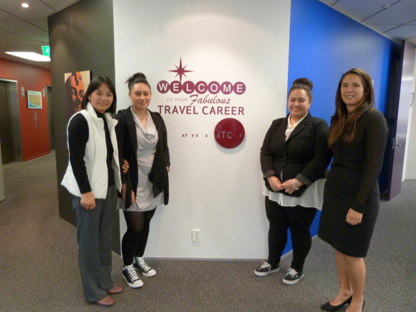 Crystal (far right) now working for an airline, thanks to ITC and the training she had via her Distance Learning course.