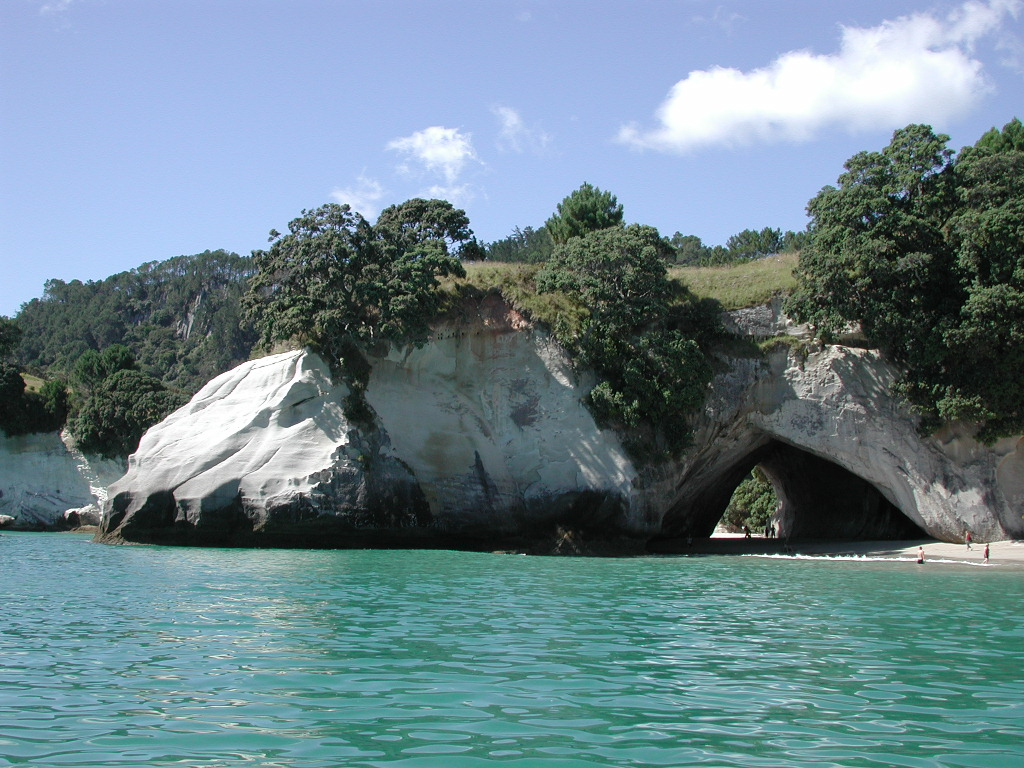 Cathedral Cove, one of the Coromandel's most recognisable landmarks. Photo credit: Wikipedia